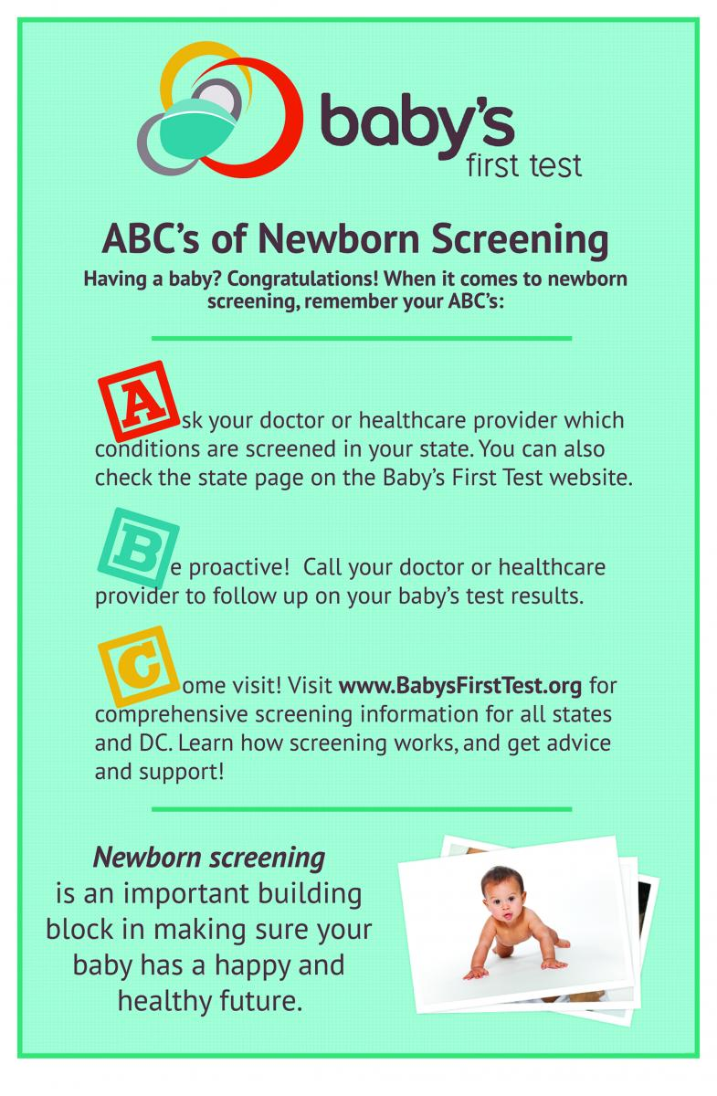 newborn bloodspot screening test Before the newborn screening test this pamphlet is essential reading for all parents before your baby has the newborn screening test the pamphlet should be provided to you prior to.